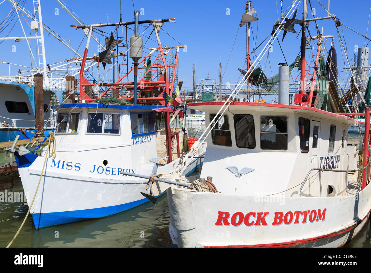 Fishing boats in Galveston Port, Texas, United States of America, North America - Stock Image