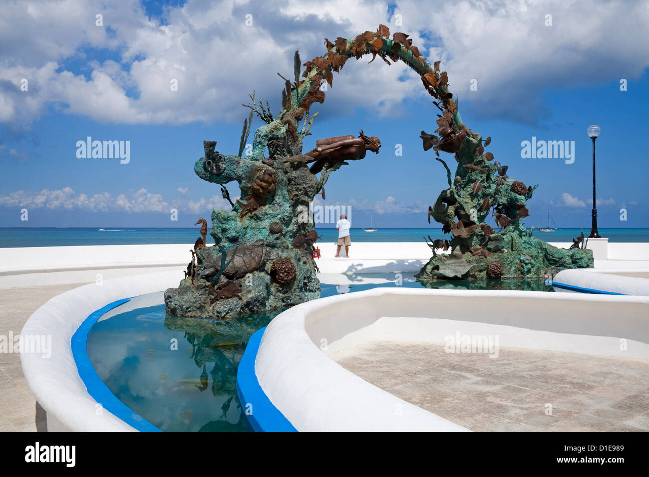 Divers fountain in San Miguel, Cozumel Island, Quintana Roo, Mexico, North America - Stock Image