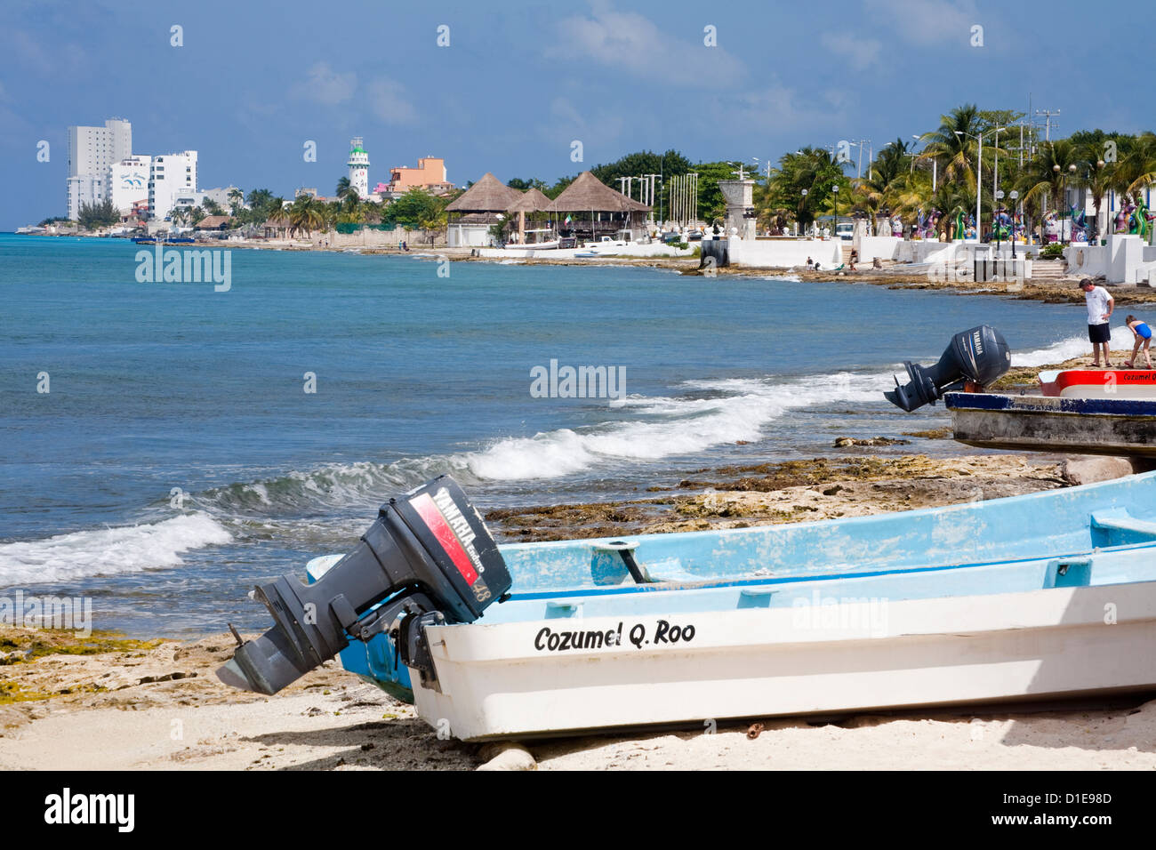 San Miguel waterfront, Cozumel Island, Quintana Roo, Mexico, North America - Stock Image