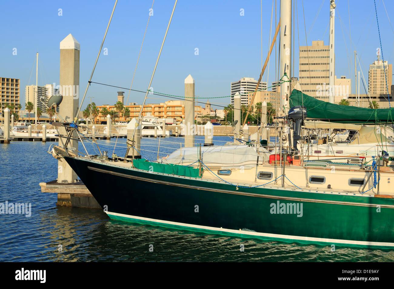 Boat marina in Corpus Christi, Texas, United States of America, North America - Stock Image