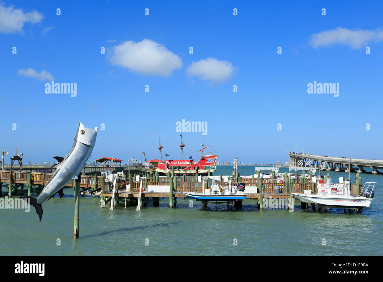 Fishing pier in Port Isabel, Texas, United States of America, North America - Stock Image