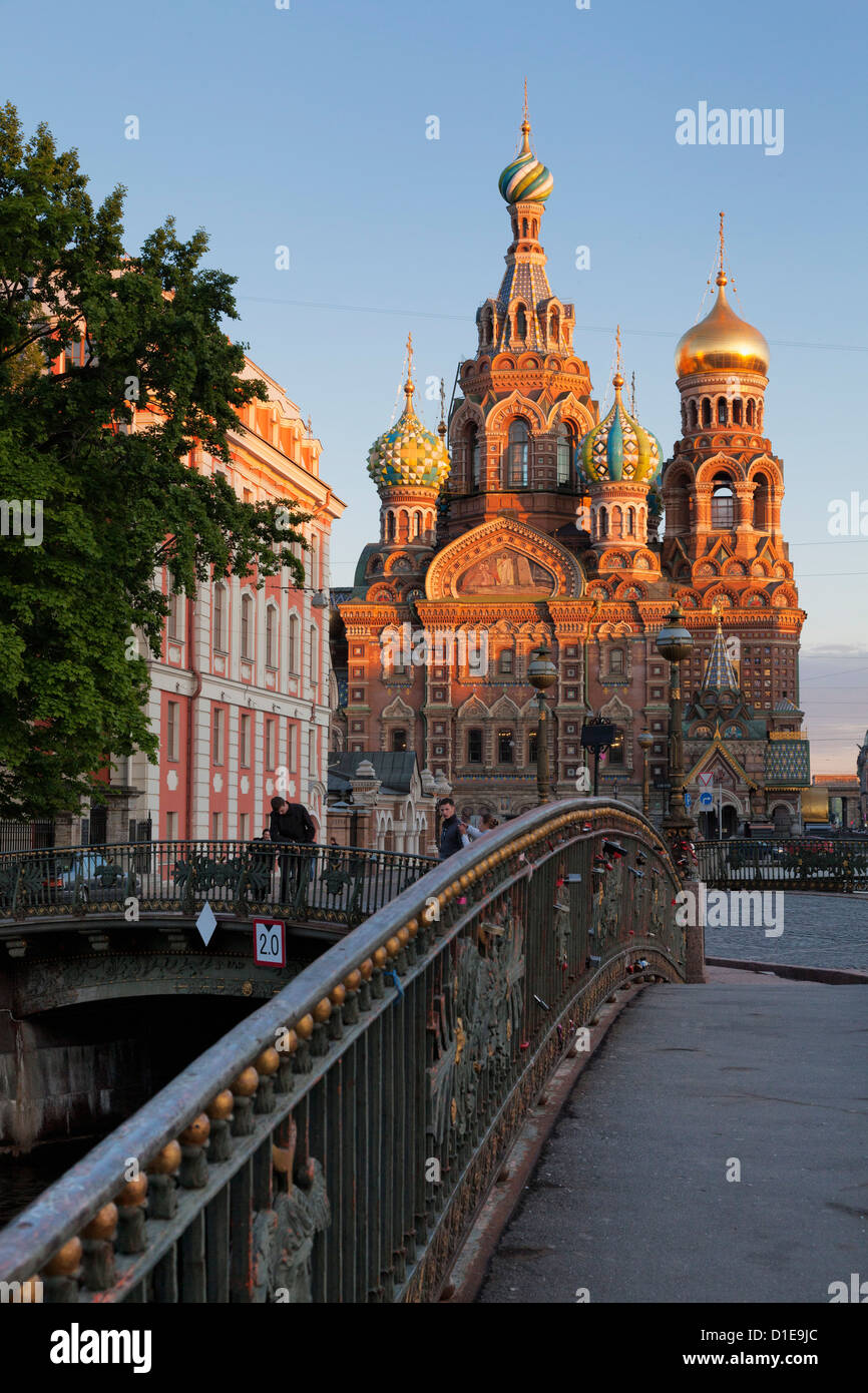 Church on Spilled Blood, UNESCO World Heritage Site, and bridge over the Kanal Griboedova, St. Petersburg, Russia, - Stock Image