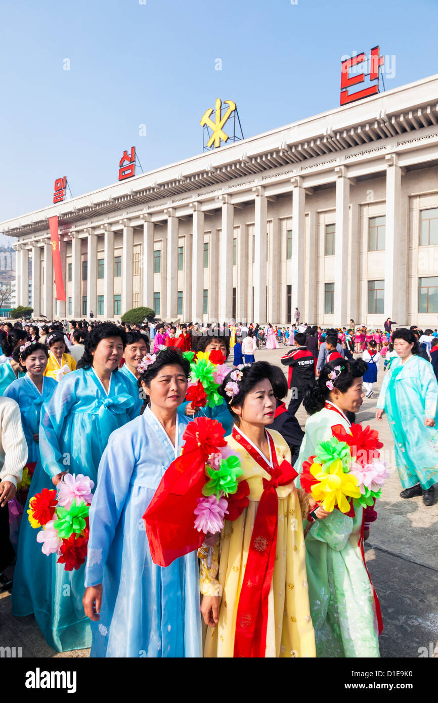 Celebrations on the 100th anniversary of the birth of President Kim Il Sung on April 15th 2012, Pyongshong, North Stock Photo