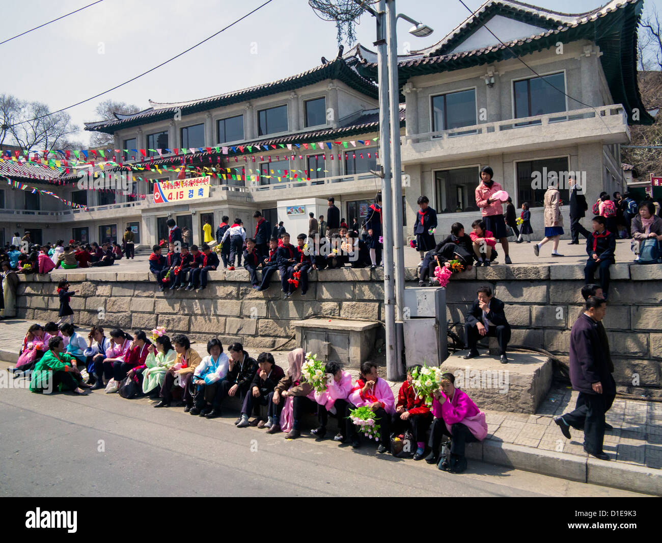 Typical urban street scene, Pyongyang, Democratic People's Republic of Korea (DPRK), North Korea, Asia - Stock Image