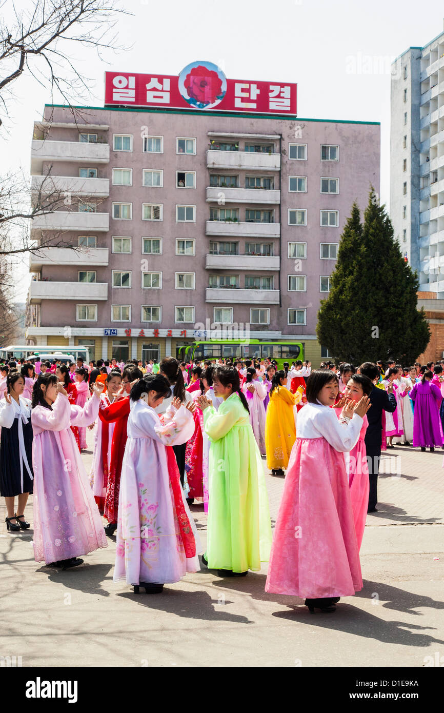 Women in traditional dress during 100th anniversary of the birth of President Kim Il Sung, April 2012, Pyongyang, Stock Photo
