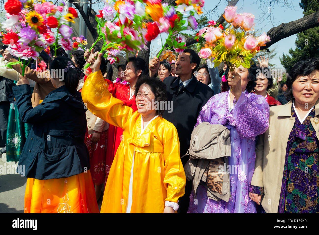 Women celebrating on 100th anniversary of the birth of President Kim Il Sung, April 15th 2012, Pyongyang, North Stock Photo