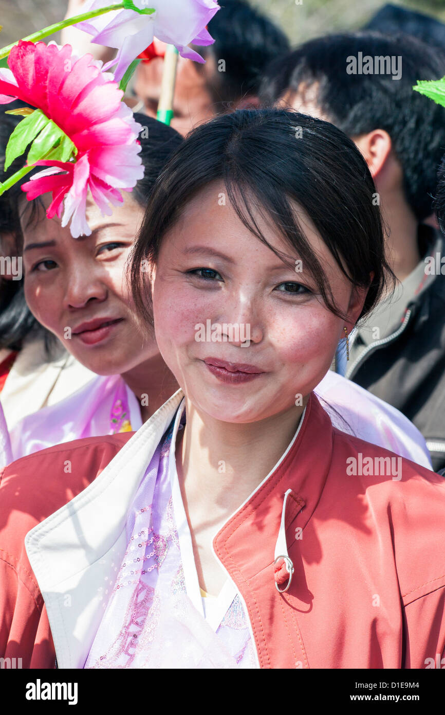 Women celebrating on 100th anniversary of the birth of President Kim Il Sung, April 15th 2012, Pyongyang, North - Stock Image