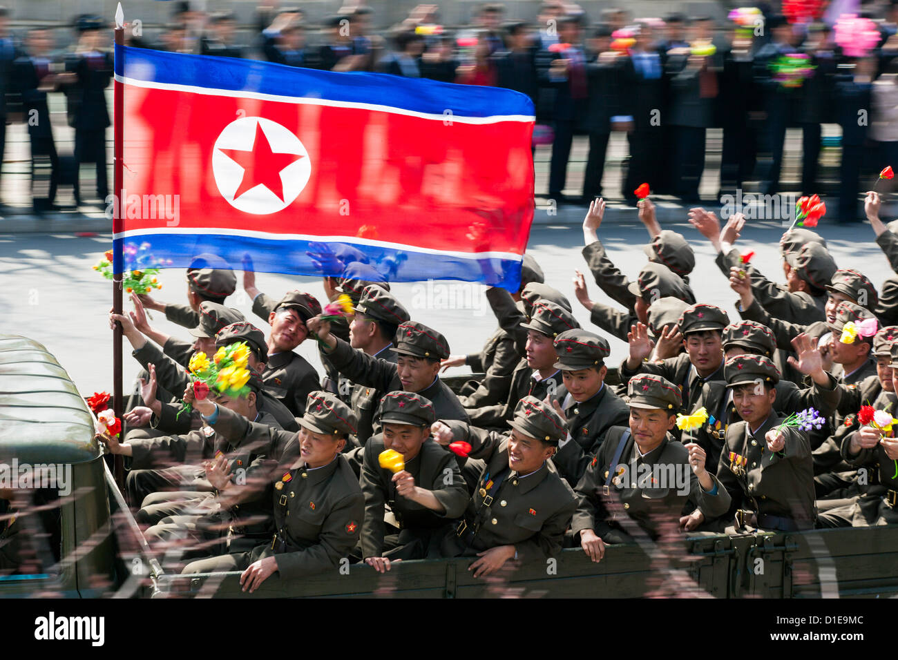Military parade during celebrations on the 100th anniversary of the birth of President Kim Il Sung, Pyongyang, North Stock Photo