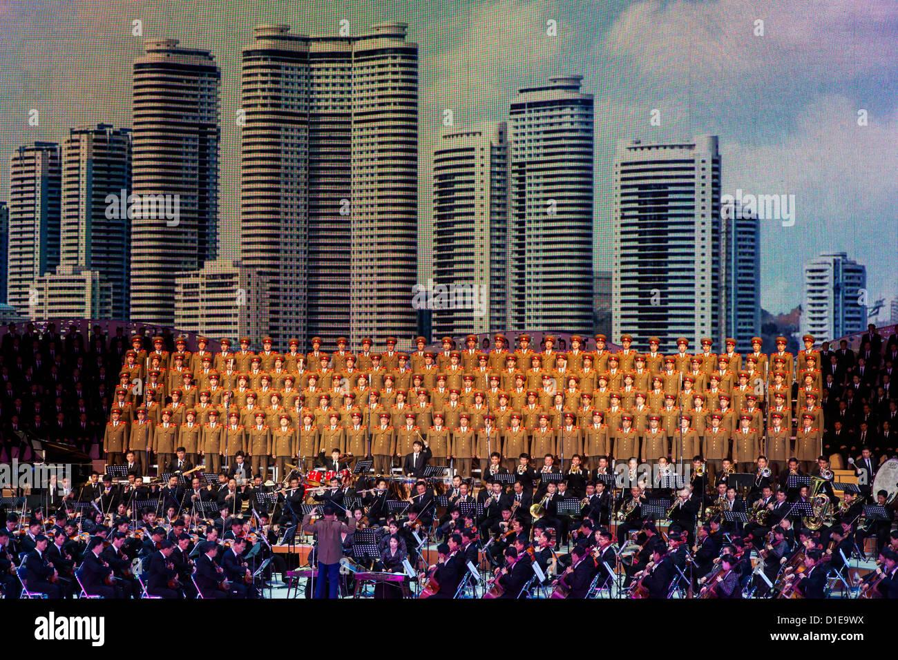 Pyongyang Indoor Stadium performance, Pyongyang, Democratic People's Republic of Korea (DPRK), North Korea, - Stock Image
