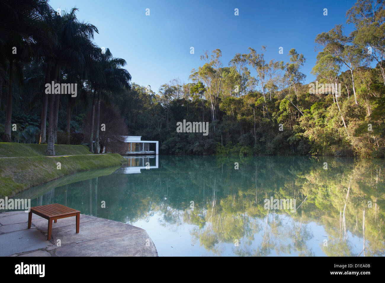 Galeria True Rouge on lake at Centro de Arte Contemporanea Inhotim, Brumadinho, Belo Horizonte, Minas Gerais, Brazil - Stock Image