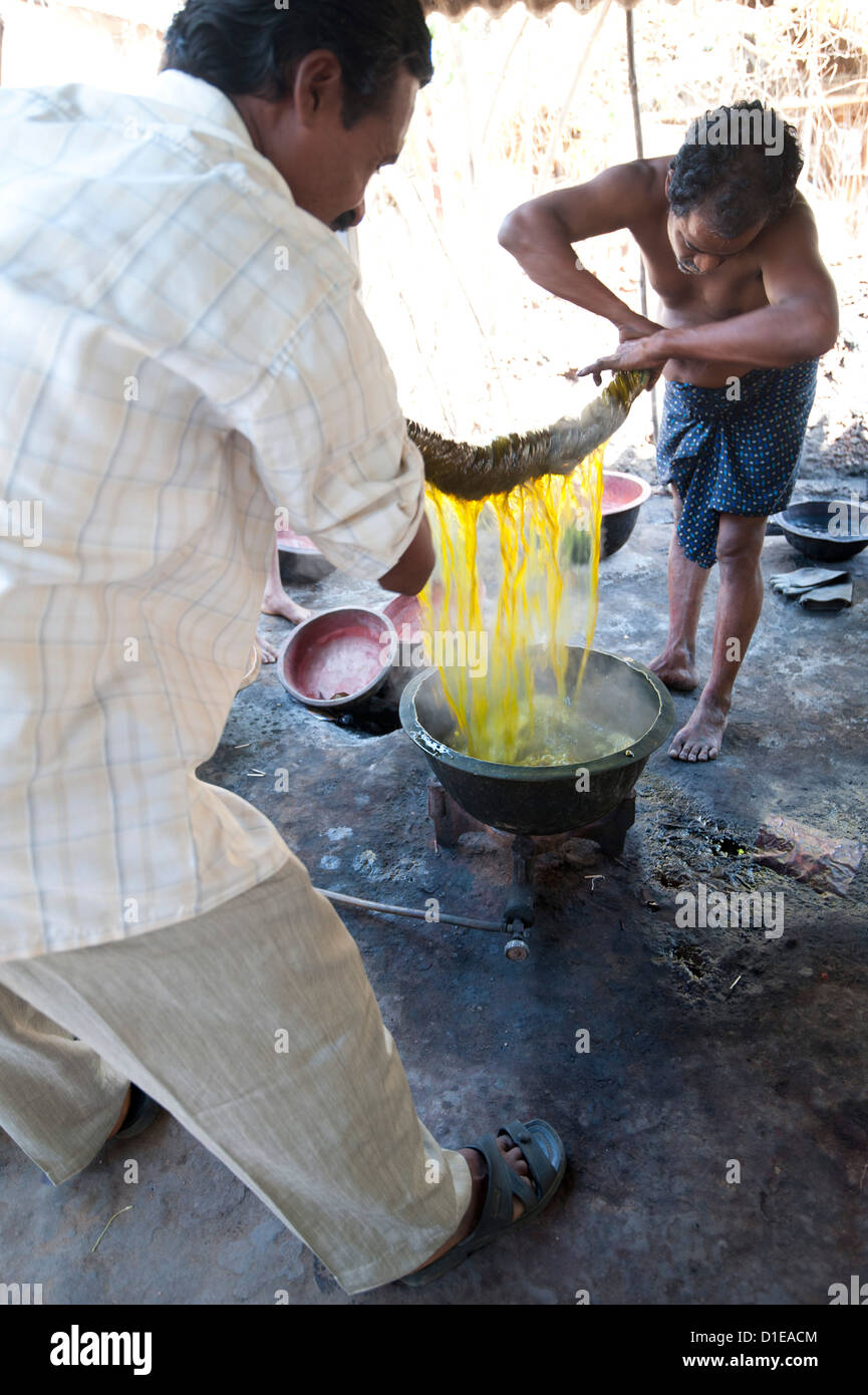 Two men squeezing yellow dye out of cotton fabric, Naupatana weaving village, rural Orissa, India - Stock Image
