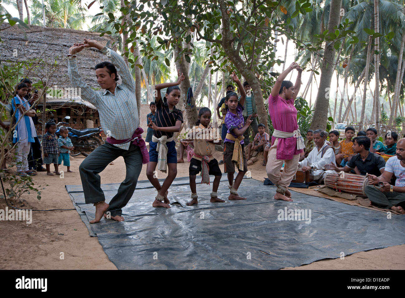 A demonstration of traditional Gotipua (single boy) temple dancing taking place in musician's village, Ballia, - Stock Image