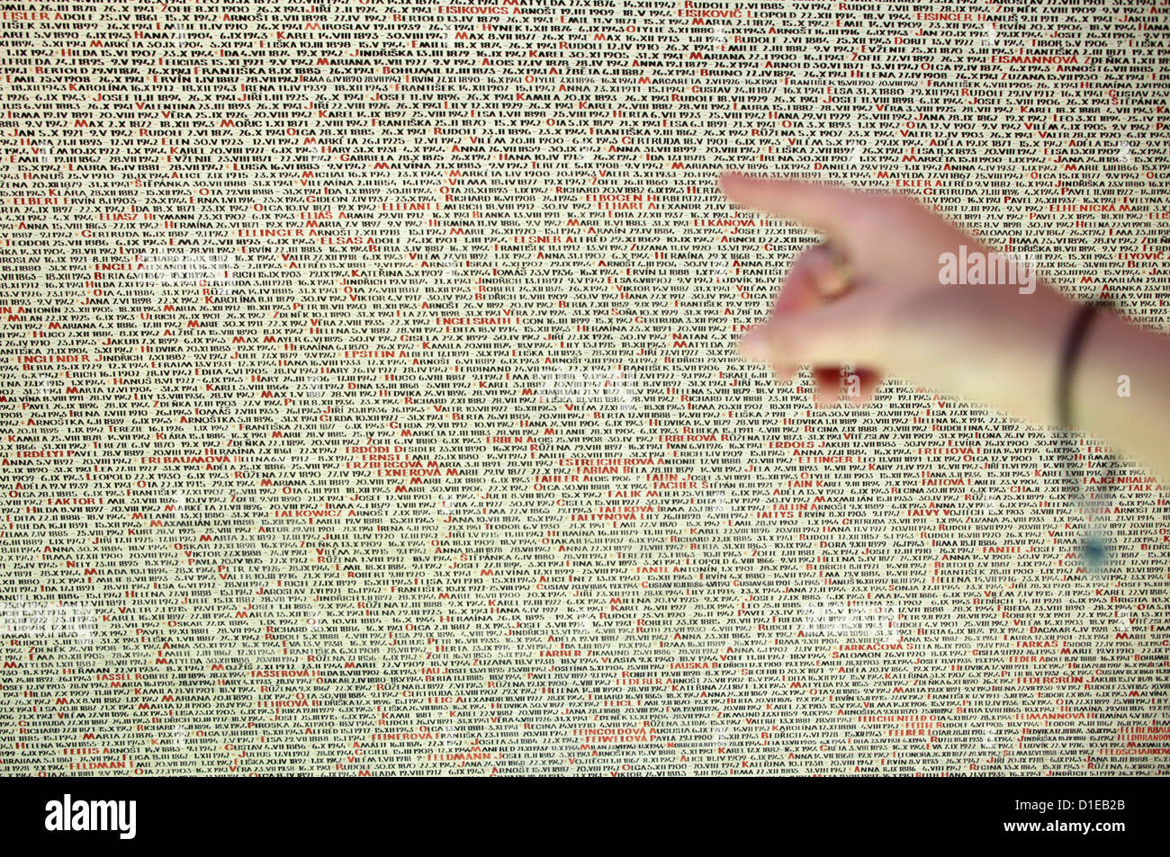 Memorial to the 80000 Jewish Victims of the Holocaust from Bohemia and Moravia, Pinkas Synagogue, Prague, Czech - Stock Image