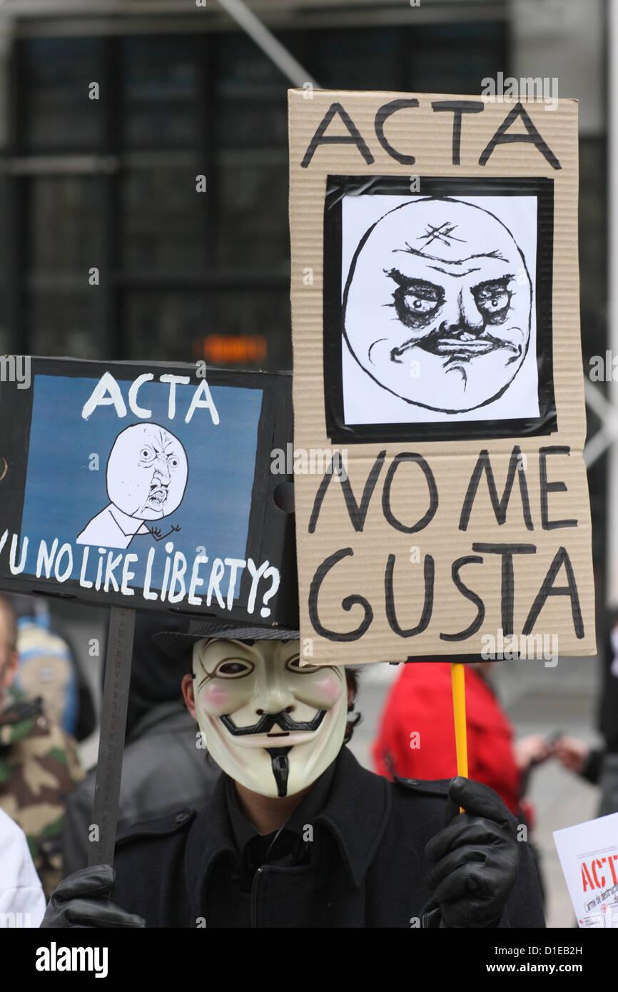 Stop ACTA Protestors march in Paris, France, Europe - Stock Image