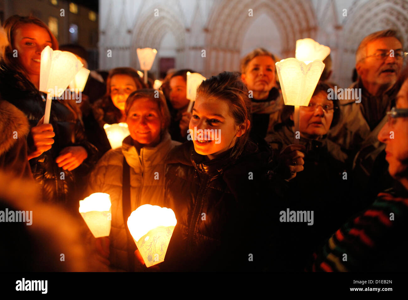 Fete des Lumieres, a night procession from St. John's cathedral to Fourviere Basilica, Lyon, Rhone, France - Stock Image