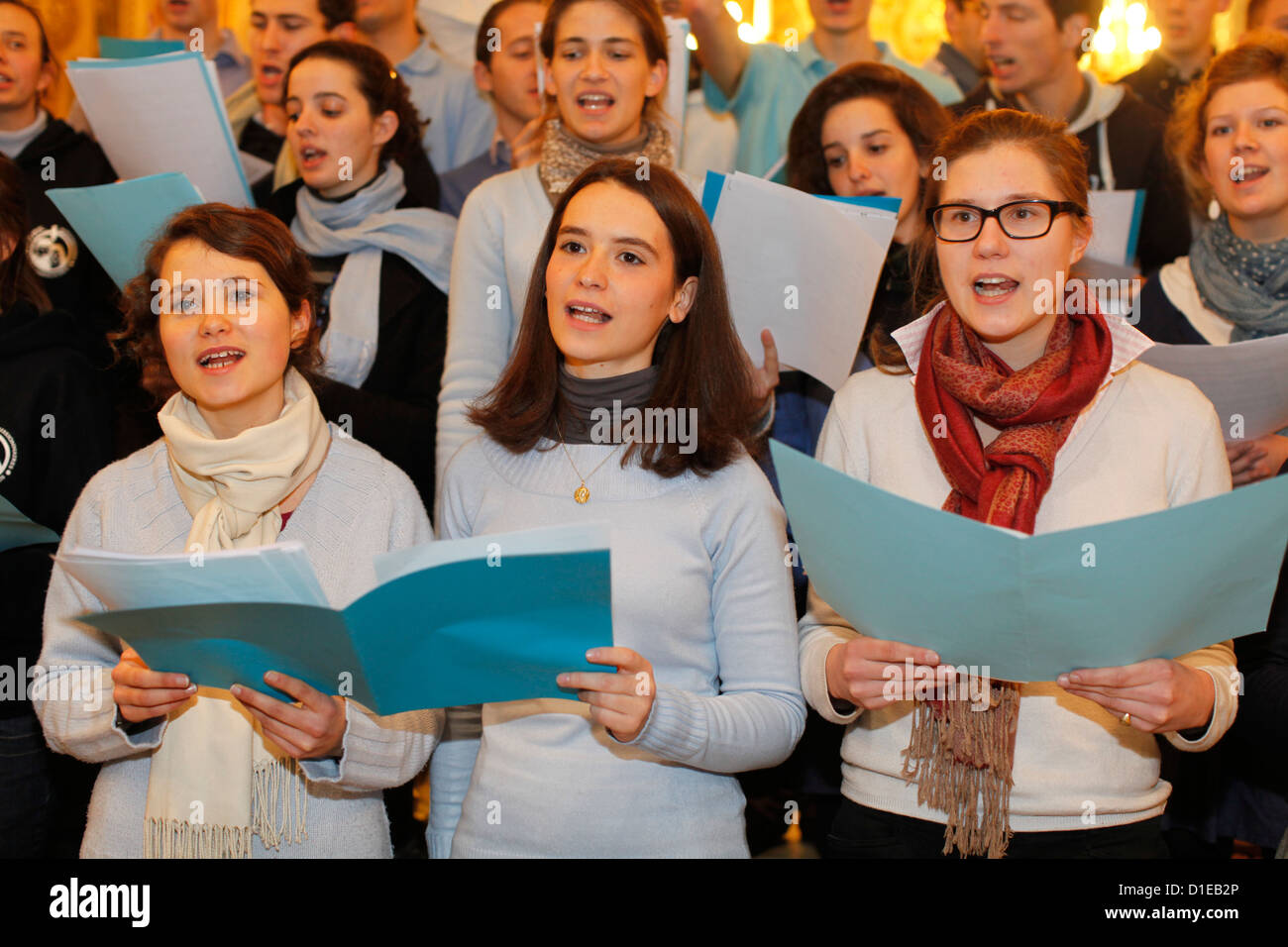 Choir in Notre Dame de Fourviere Basilica during the Fete des Lumieres held every year on december 8, Lyon, France - Stock Image