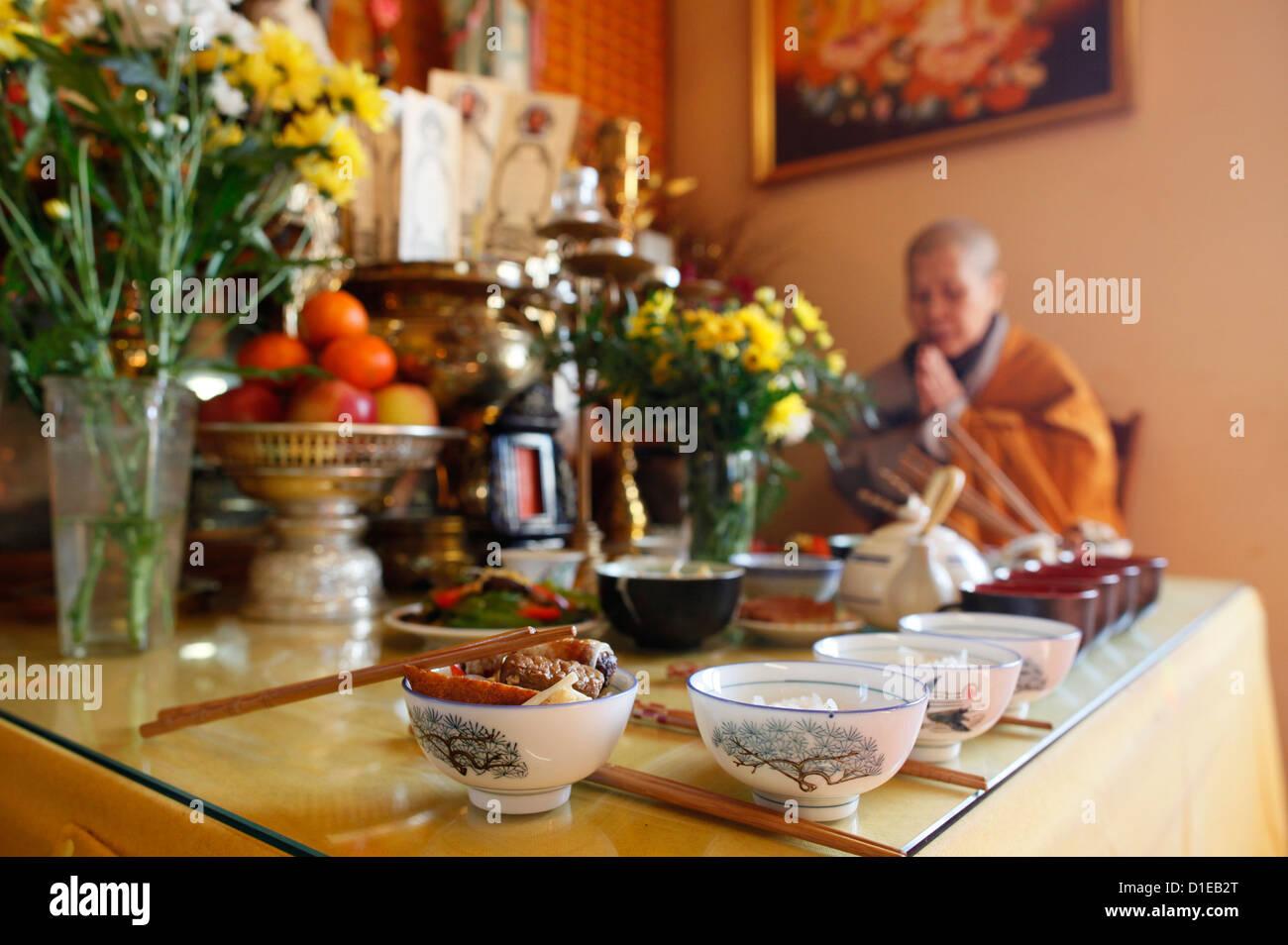 Buddhist ceremony, Ancestors' altar, Tu An Buddhist temple, Saint-Pierre-en-Faucigny, Haute Savoie, France, - Stock Image