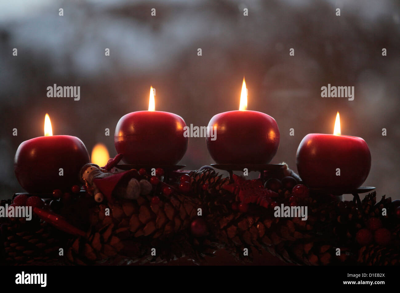 Advent candles, Saint-Pierre-en-Faucigny, Haute Savoie, France, Europe - Stock Image