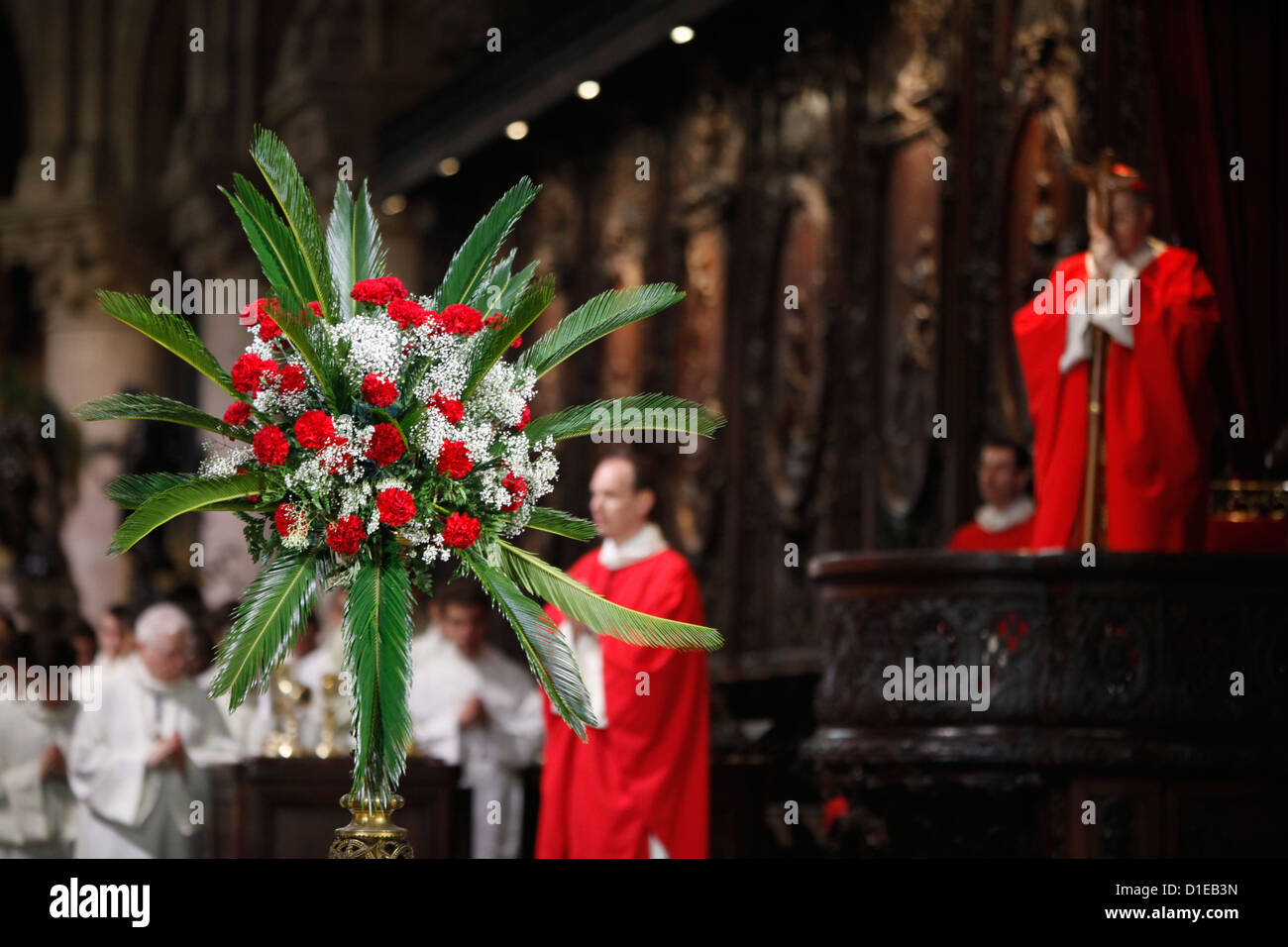 Palm Sunday at Notre Dame Cathedral, Paris, France, Europe Stock Photo