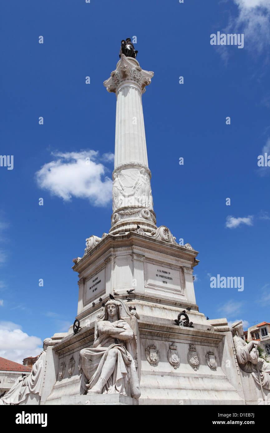 Portuguese King Dom Pedro IV monument, Dom Pedro IV Sqaure (Rossio Square), in the Baixa district, Lisbon, Portugal, - Stock Image