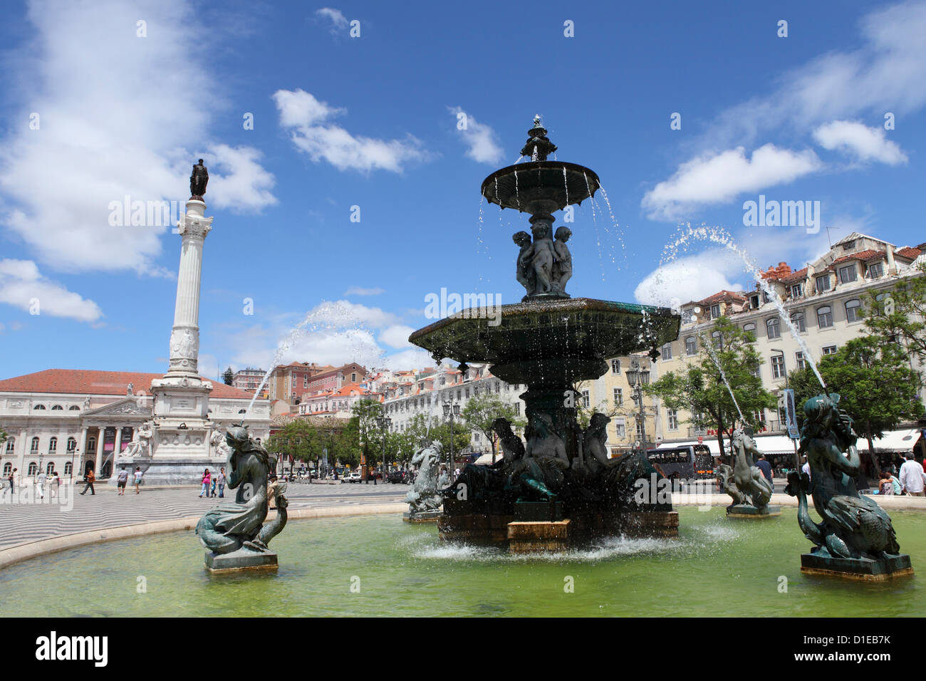 The Rossio Fountain on Praca Dom Pedro IV public square in the central Baixa district, Lisbon, Portugal, Europe - Stock Image