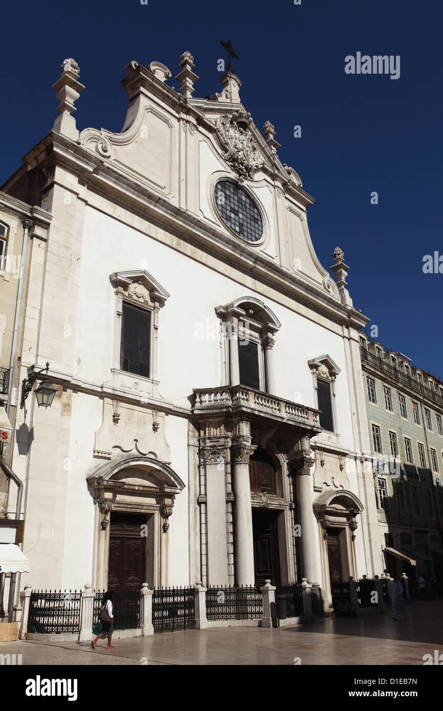 Facade of the Baroque style Leitaria Sao Domingos church in the Baixa district, Lisbon, Portugal, Europe - Stock Image