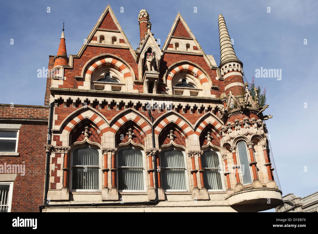 The Victorian Hindu-Gothic Grade II Listed facade of the Elephant Tea Rooms in Sunderland, Tyne and Wear, England - Stock Image
