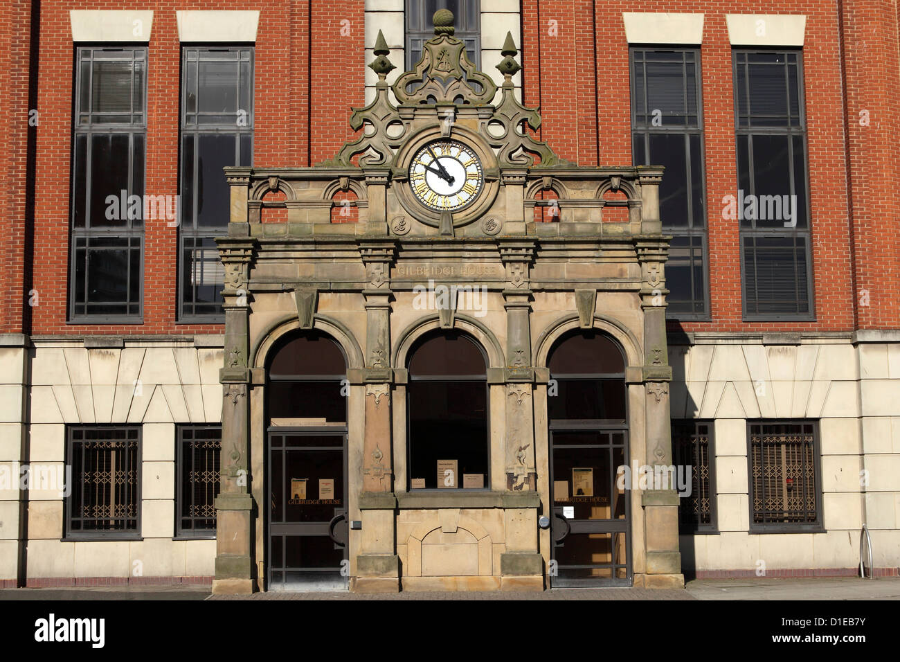 The Grade II Listed entrance facade at Gilbridge House, Sunderland, Tyne and Wear, England, United Kingdom, Europe - Stock Image