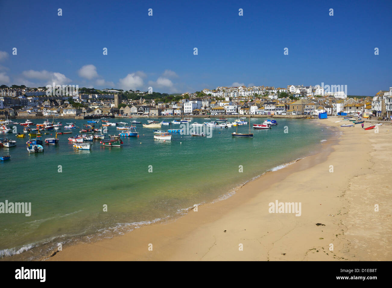 Summer sunshine on boats in the old harbour, St. Ives, Cornwall, England, United Kingdom, Europe Stock Photo