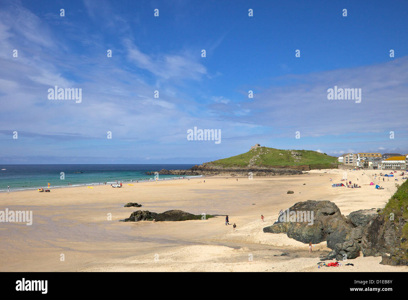 Summer sunshine on Porthmeor beach, St. Ives, Cornwall, England, United Kingdom, Europe Stock Photo