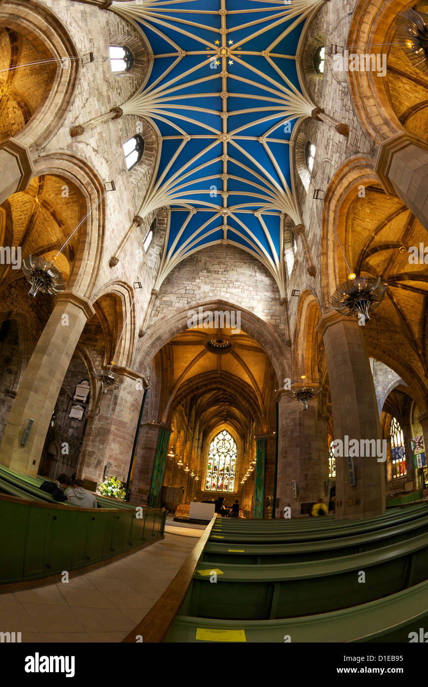 Nave, St. Giles Cathedral, Old town, Edinburgh, Scotland, United Kingdom, Europe - Stock Image