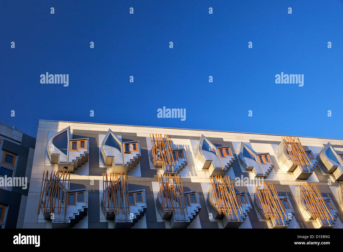 Exterior of New Scottish Parliament building, architect Enric Miralles, Holyrood, Edinburgh, Scotland, United Kingdom, - Stock Image