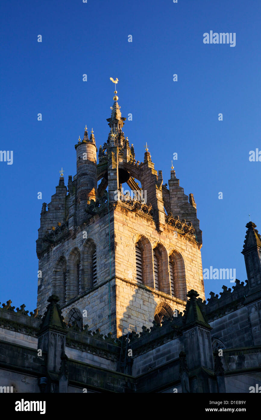 Crown Spire of St. Giles Cathedral (High Kirk), Royal Mile, Old Town, Edinburgh, Scotland, United Kingdom, Europe - Stock Image