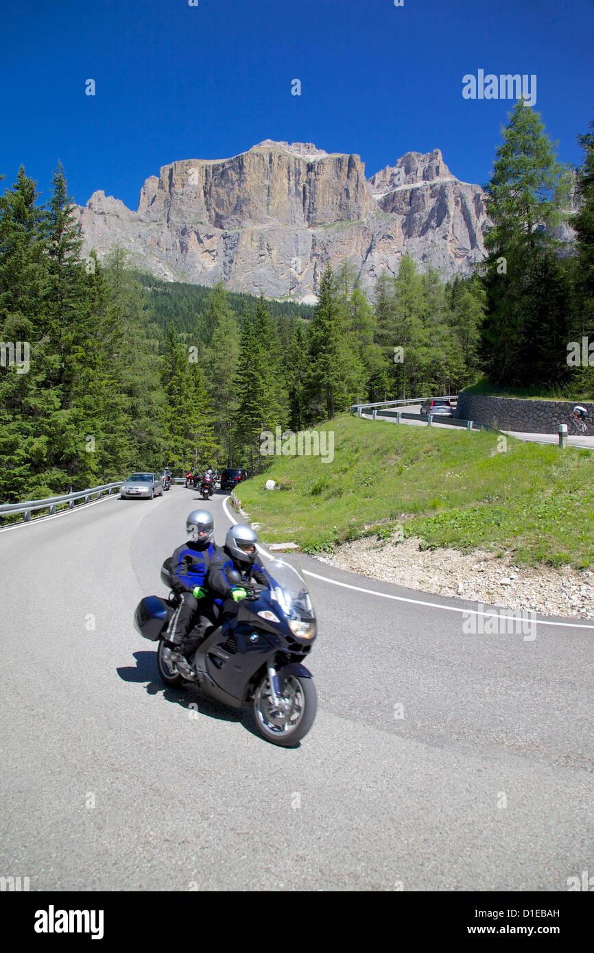 Motorcyclists, Sella Pass, Trento and Bolzano Provinces, Dolomites, Italy, Europe Stock Photo