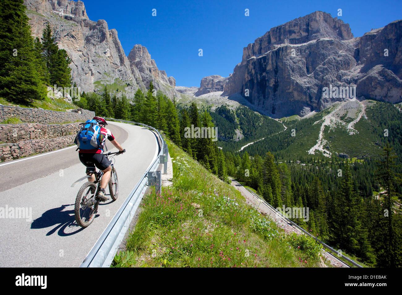 Cyclists, Sella Pass, Trento and Bolzano Provinces, Trentino Alto Adige/South Tyrol, Dolomites, Italy, Europe - Stock Image