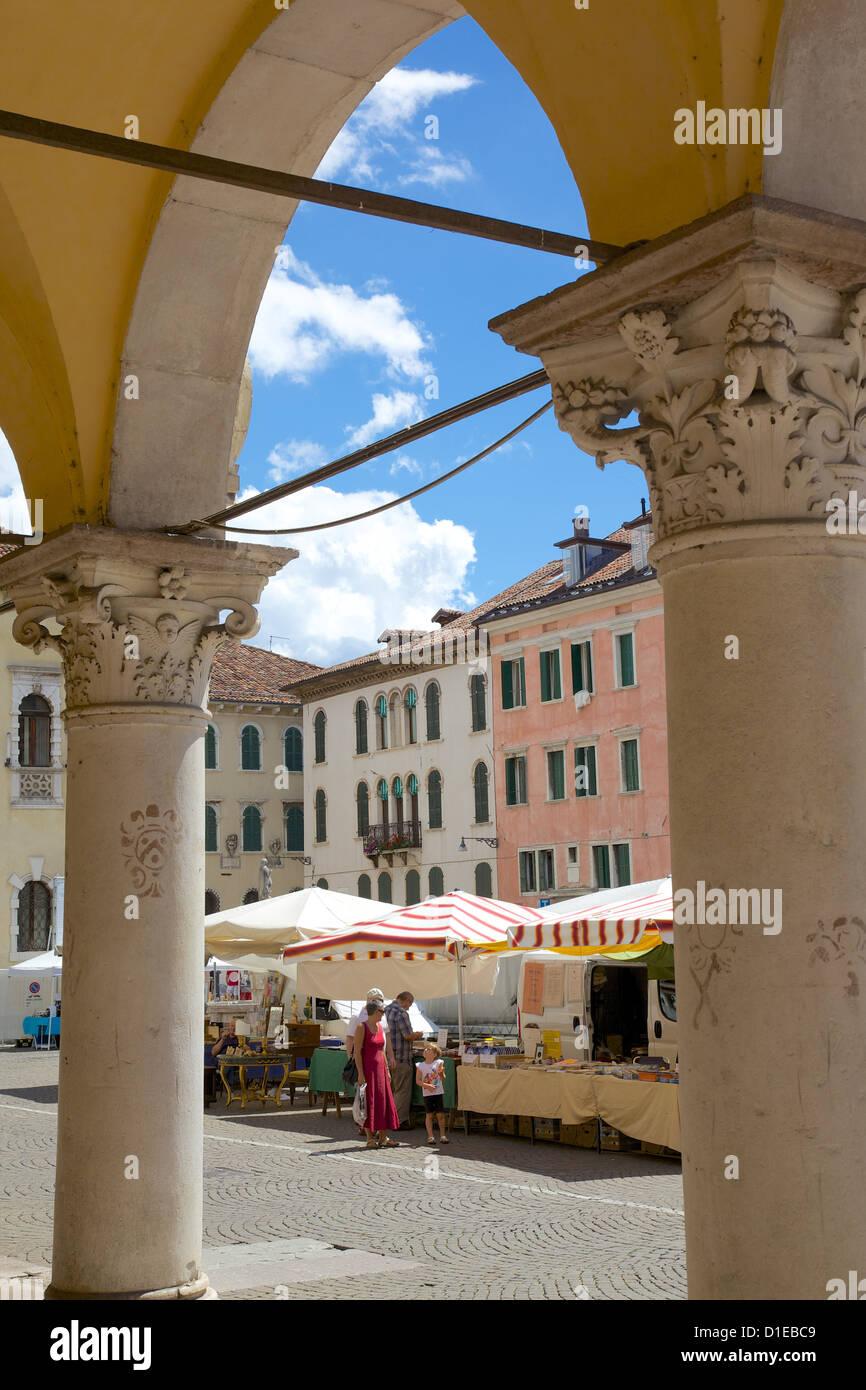Market and arches, Post Building, Piazza dei Duomo, Belluno, Province of Belluno, Veneto, Italy, Europe - Stock Image