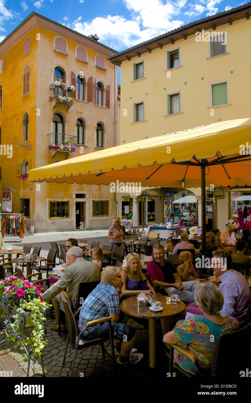 Cafe and local people, Piazza Mercato, Belluno, Province of Belluno, Veneto, Italy, Europe Stock Photo