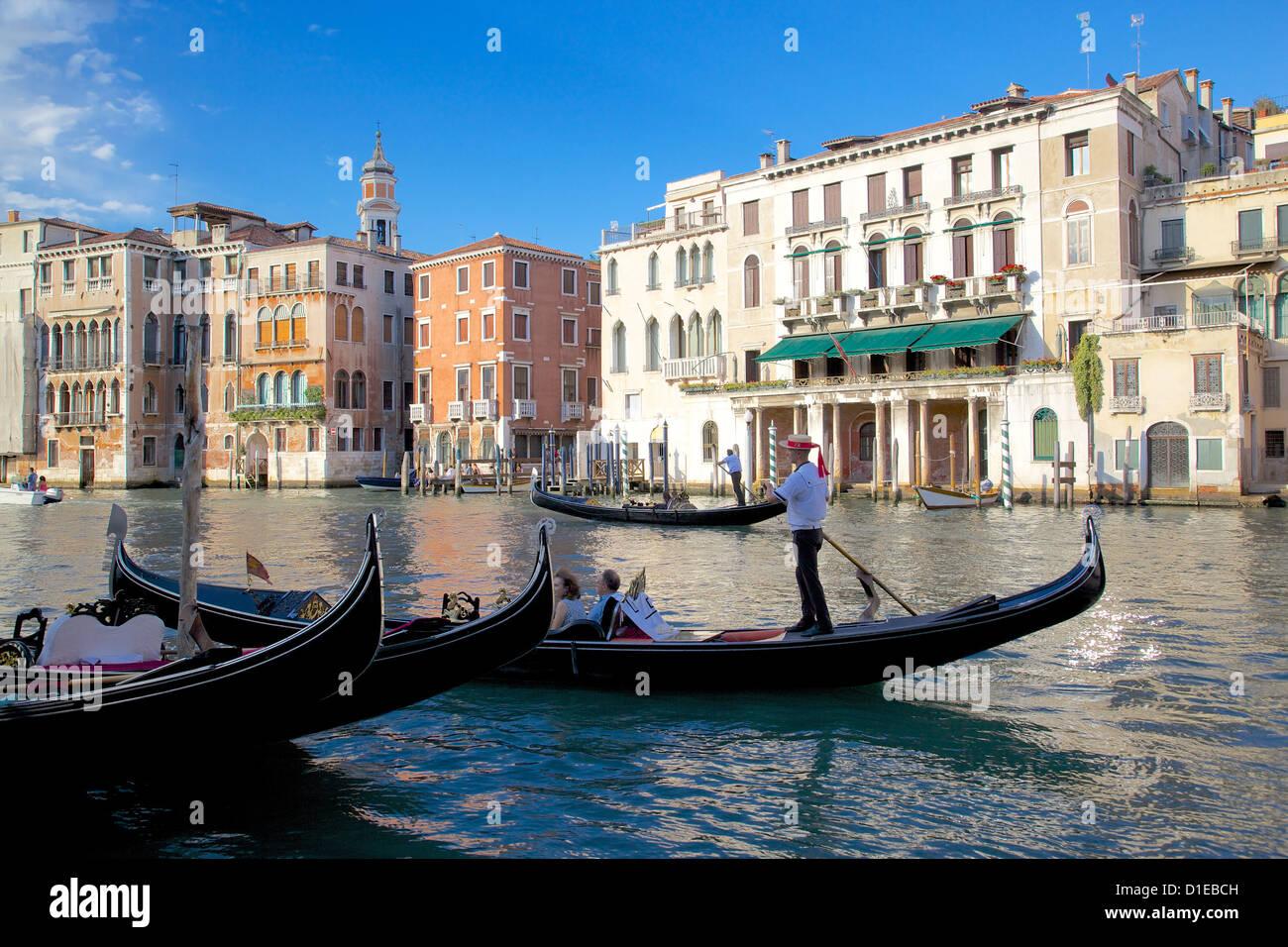 Gondolas on the Grand Canal, Venice, UNESCO World Heritage Site, Veneto, Italy, Europe Stock Photo