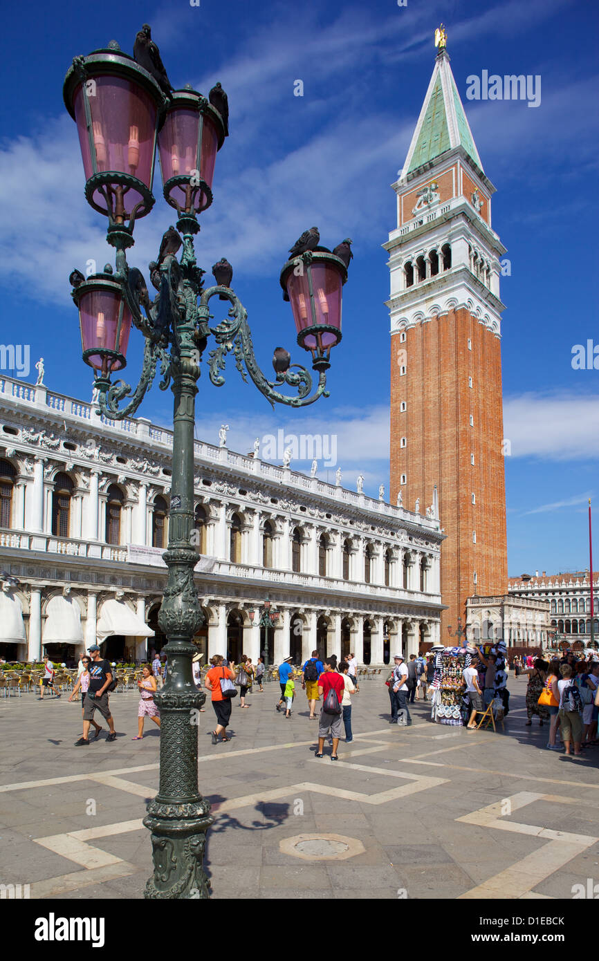 Campanile and Piazza San Marco, Venice, UNESCO World Heritage Site, Veneto, Italy, Europe - Stock Image