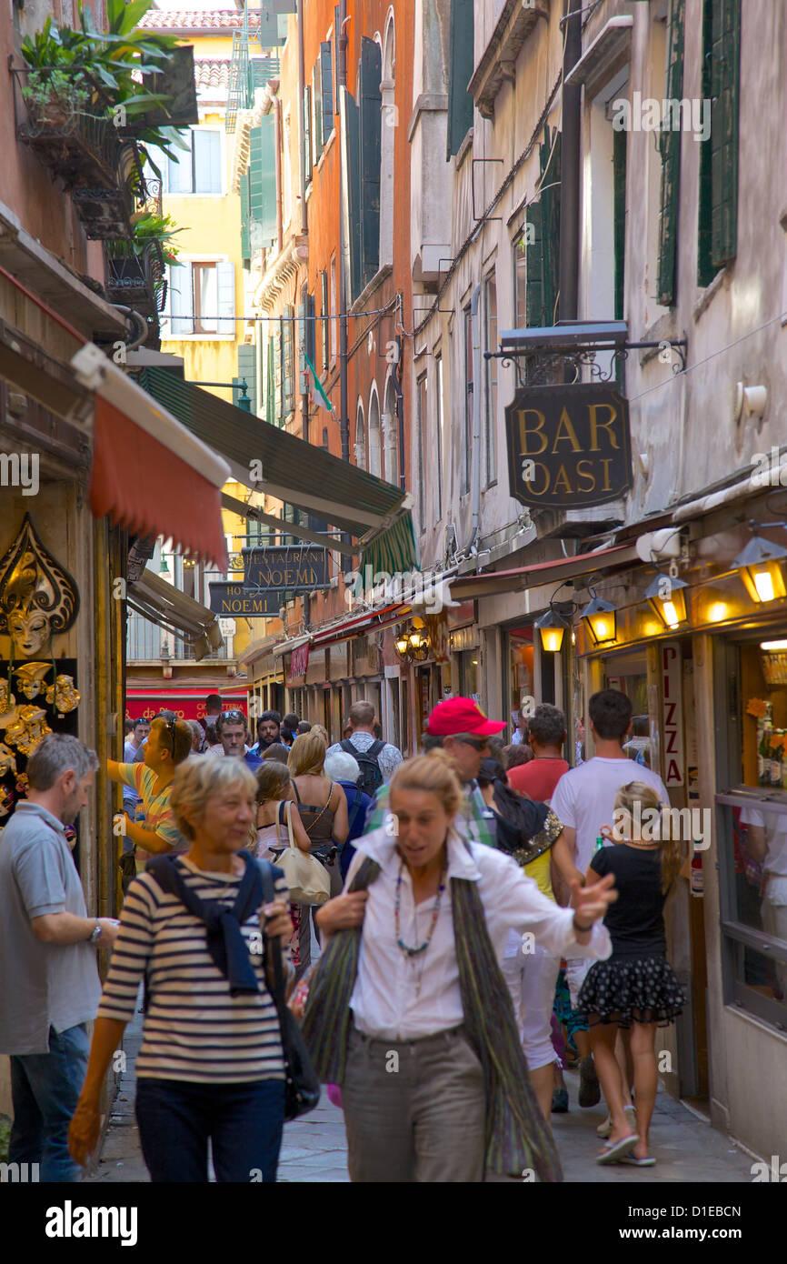 Busy street scene, Venice, UNESCO World Heritage Site, Veneto, Italy, Europe - Stock Image