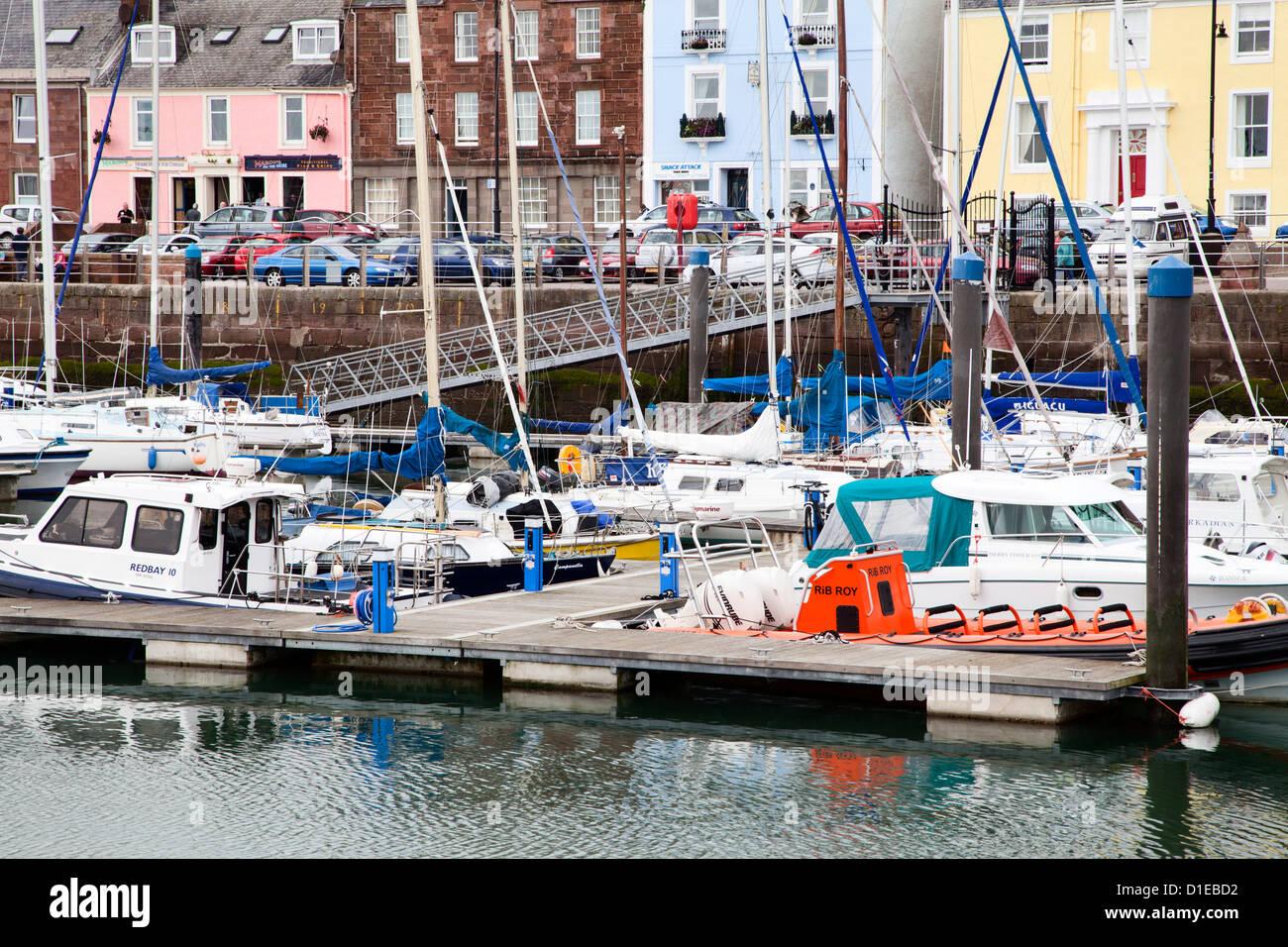 Boats at Arbroath Harbour, Arbroath, Angus, Scotland, United Kingdom, Europe - Stock Image