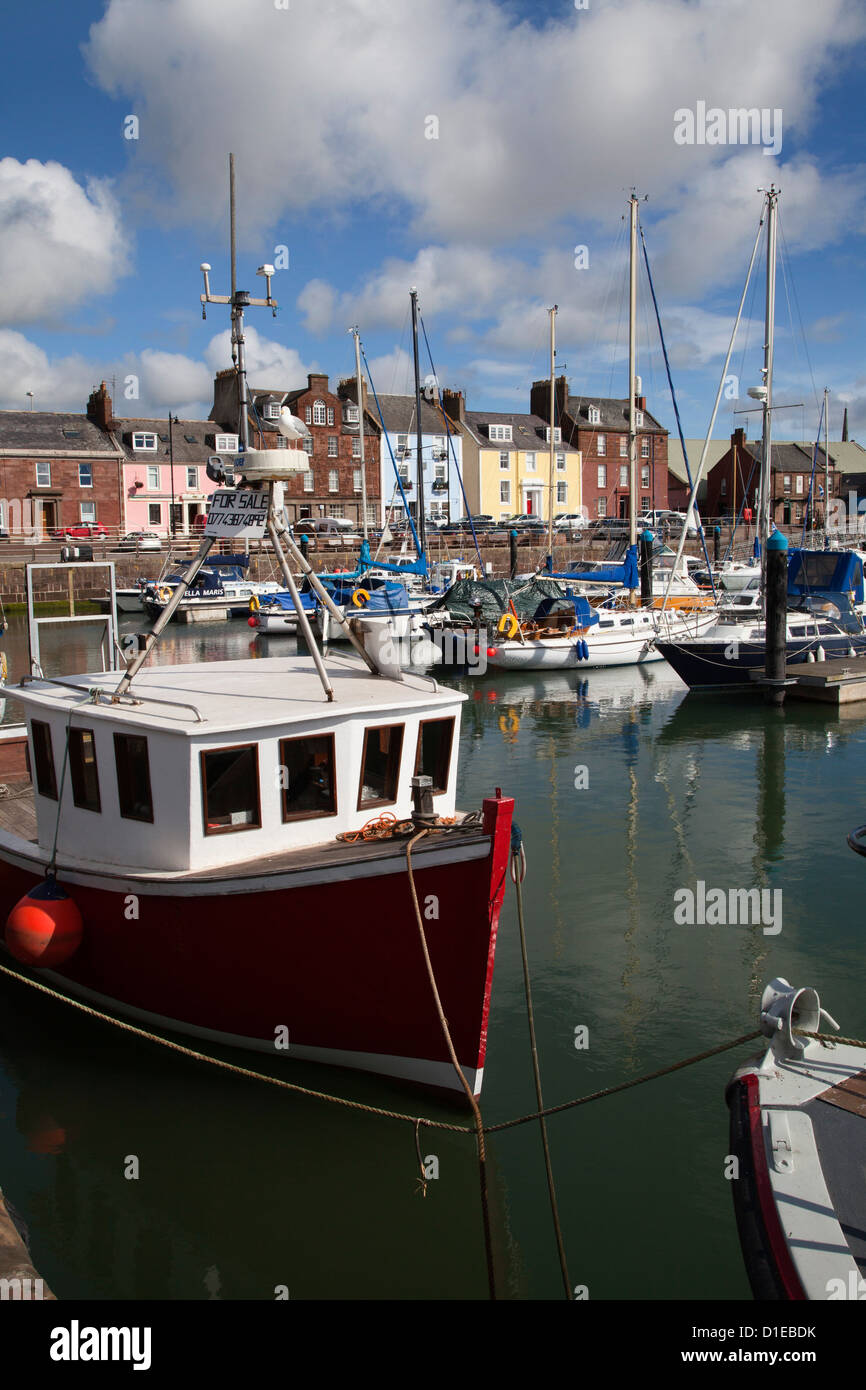 Fishing boats and yachts in the Harbour at Arbroath, Angus, Scotland, United Kingdom, Europe - Stock Image
