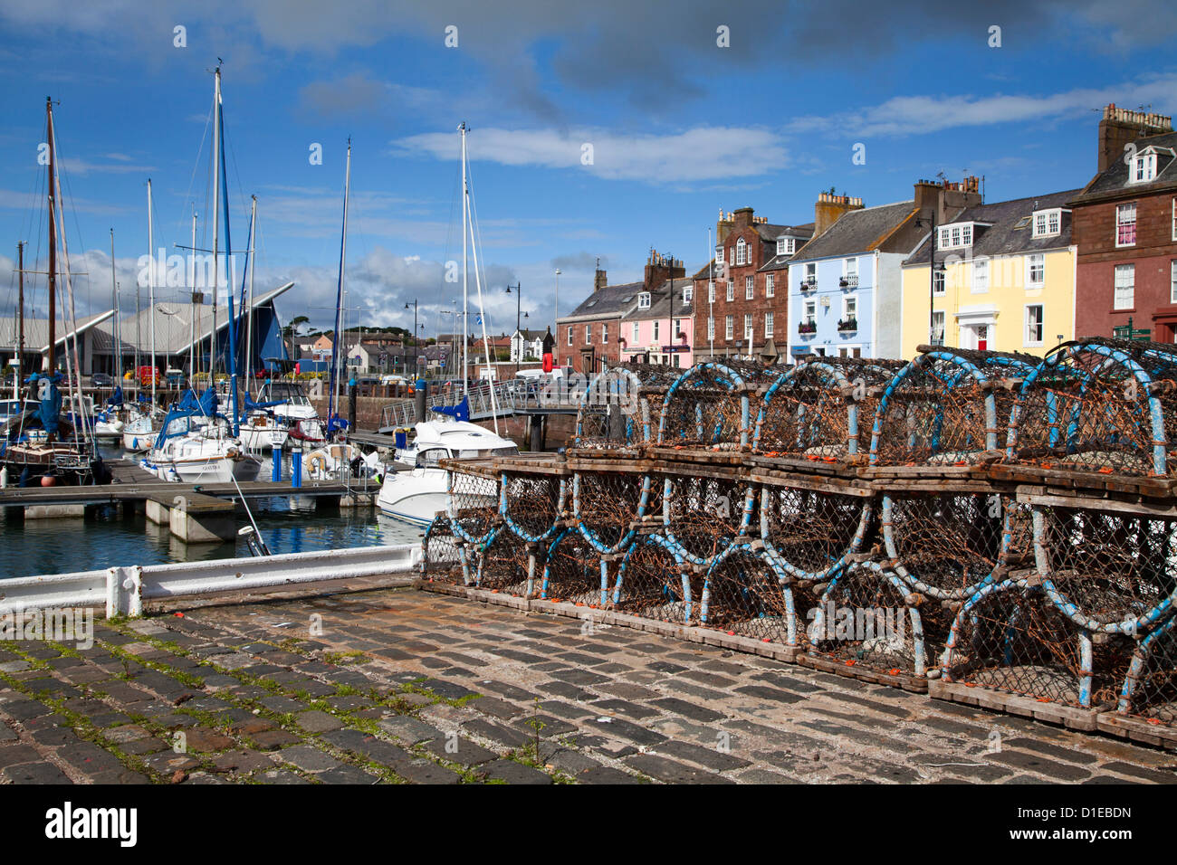Lobster pots on the Quayside at the Harbour in Arbroath, Angus, Scotland, United Kingdom, Europe - Stock Image