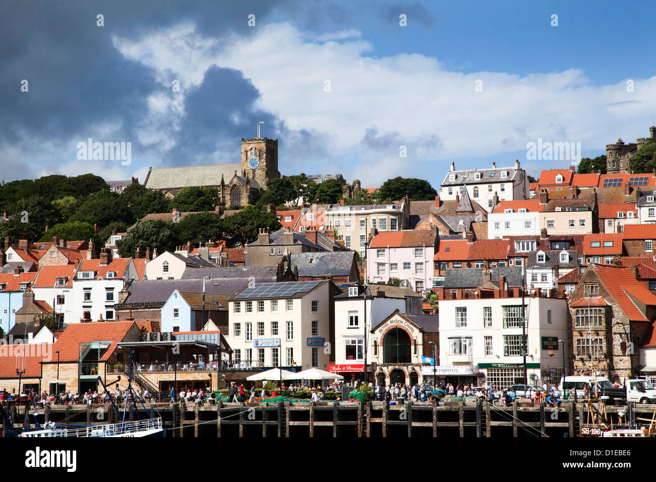 Quayside below St. Marys Church at Scarborough, North Yorkshire, Yorkshire, England, United Kingdom, Europe - Stock Image