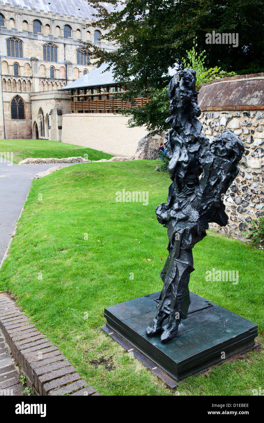 Modern sculpture in Cathedral Upper Close, Norwich, Norfolk, England, United Kingdom, Europe - Stock Image
