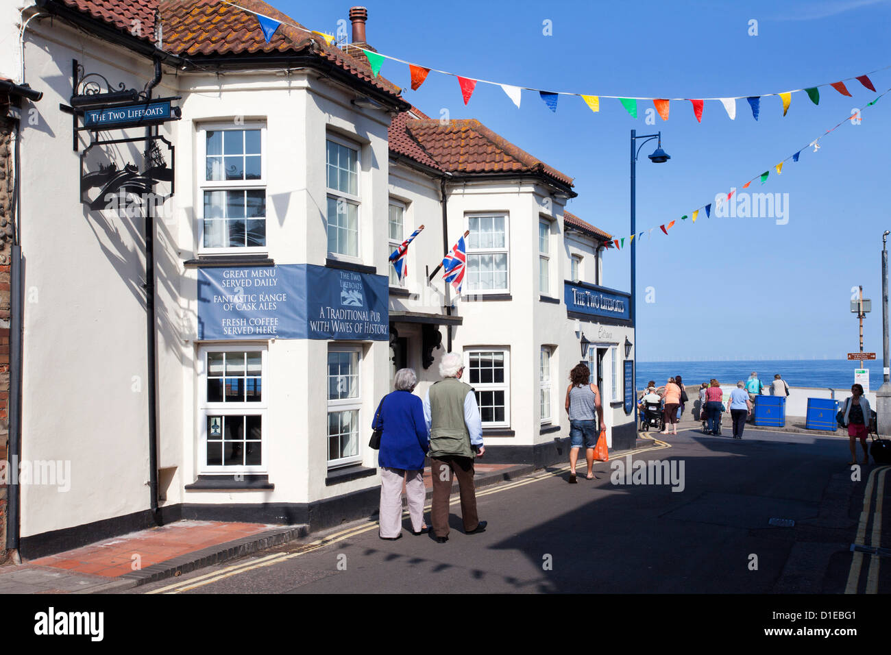 The Two Lifeboats Pub on the Seafront at Sheringham, Norfolk, England, United Kingdom, Europe - Stock Image