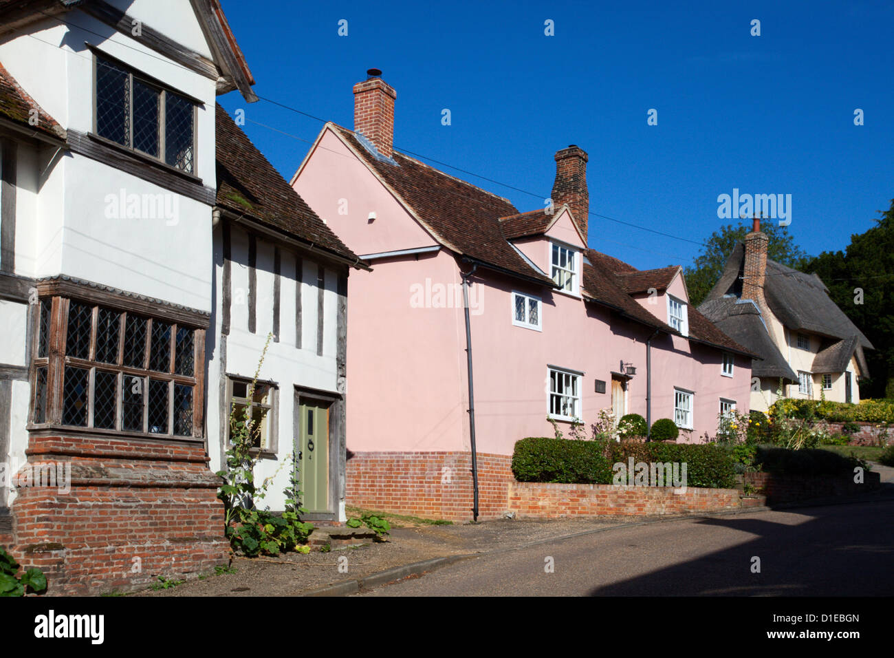 Cottages at Kersey, Suffolk, England, United Kingdom, Europe - Stock Image