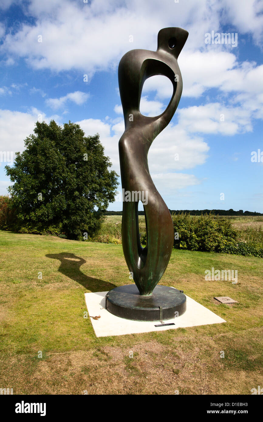 Large Interior Form Sculpture by Henry Moore at Snape Maltings, Suffolk, England, United Kingdom, Europe - Stock Image