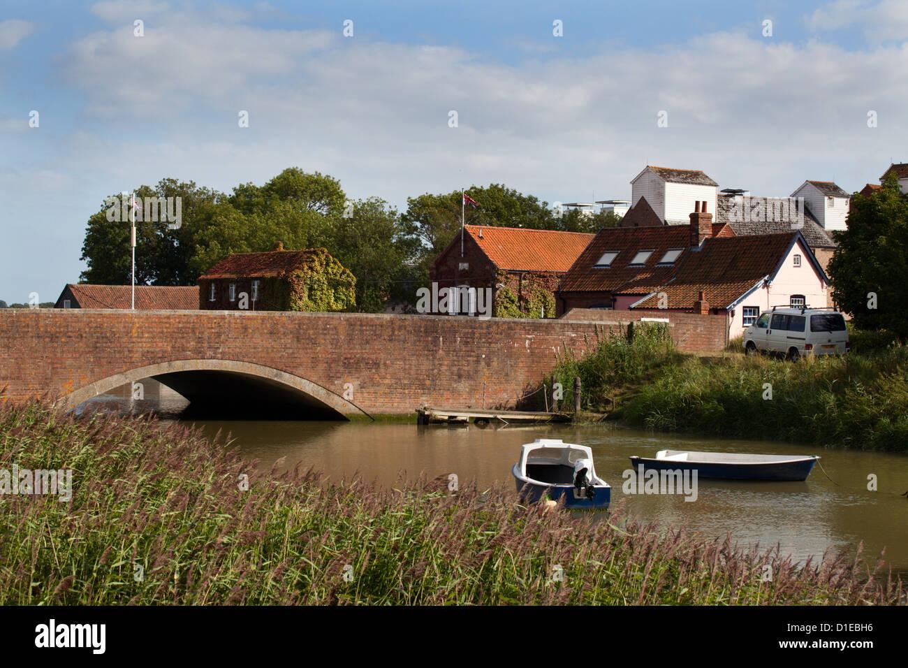Bridge over the River Alde at Snape Maltings, Suffolk, England, United Kingdom, Europe - Stock Image