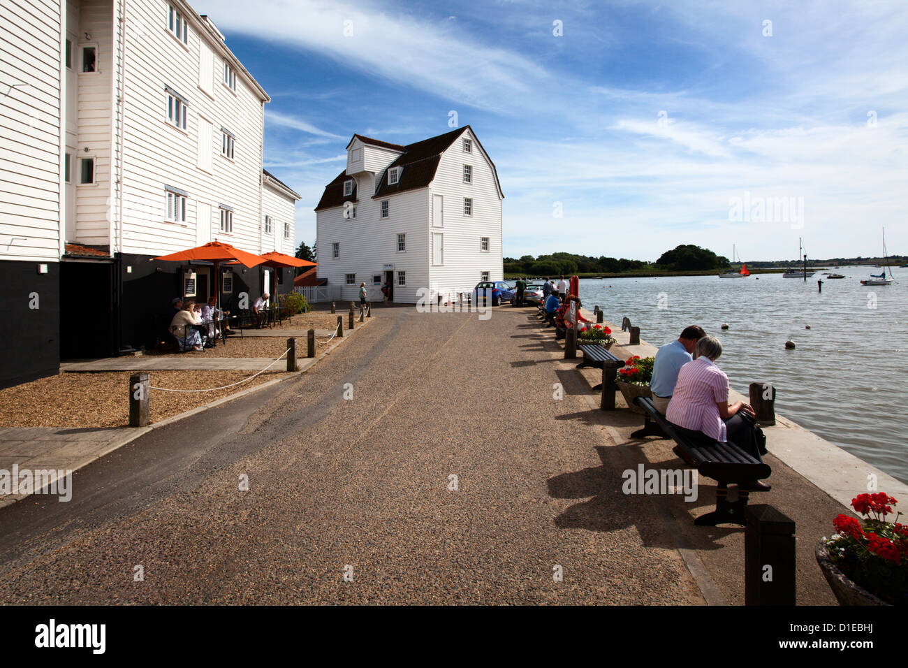 The Tide Mill Living Museum and Quayside at Woodbridge Riverside, Woodbridge, Suffolk, England, United Kingdom, - Stock Image
